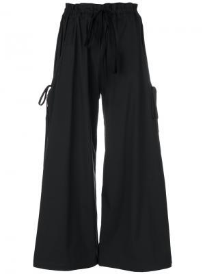 Укороченные широкие брюки Roberts Wood. Цвет: чёрный
