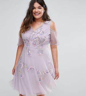 Frock and Frill Plus Короткое приталенное платье с отделкой и открытыми плечами F. Цвет: фиолетовый