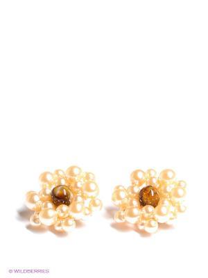 Серьги Happy Garnets. Цвет: коричневый, кремовый