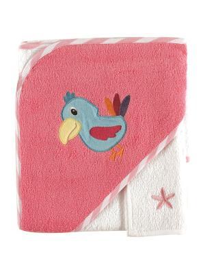 Полотенце с капюшоном и салфетка для купания, 1 шт. Luvable Friends. Цвет: розовый