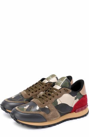 Комбинированные кроссовки Camouflage с принтом Valentino. Цвет: хаки