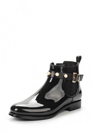 Резиновые полусапоги Ideal Shoes. Цвет: черный