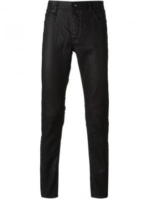 Очень узкие джинсы скинни John Varvatos. Цвет: чёрный