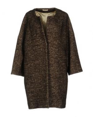 Пальто ZHELDA. Цвет: темно-коричневый