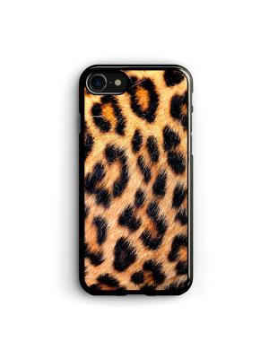 Чехол для iPhone 7/8 Леопардовый фон Boom Case. Цвет: черный, светло-оранжевый