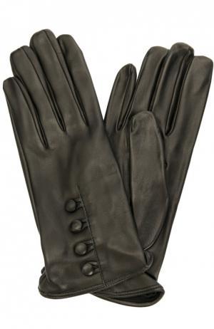 Кожаные перчатки с пуговицами Sermoneta Gloves. Цвет: черный