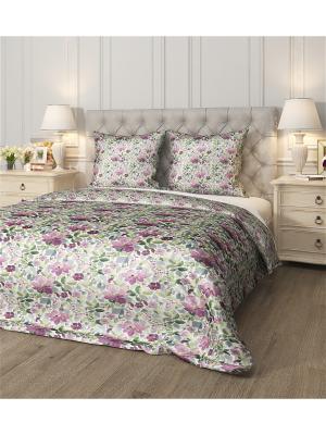 Комплект постельного белья Акварельные цветы, семейный Сирень. Цвет: зеленый, голубой, фиолетовый