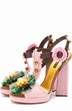 Плетеные босоножки Keira с декором Dolce & Gabbana. Цвет: розовый