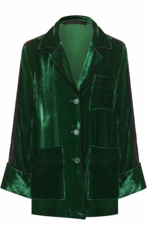 Бархатная блуза в пижамном стиле Elie Saab. Цвет: зеленый