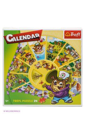 Пазл Календарь 24 детали Trefl. Цвет: зеленый, салатовый, коричневый, фиолетовый, красный, фуксия, желтый