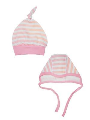 Набор: чепчик и шапочка Коллекция Little Elephant КОТМАРКОТ. Цвет: розовый, бежевый, белый