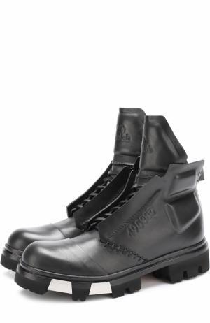 Высокие кожаные ботинки на массивной подошве Artselab. Цвет: черный