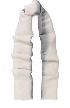Шаль из смеси шелка и льна с кашемиром градиентным рисунком Colombo. Цвет: серый