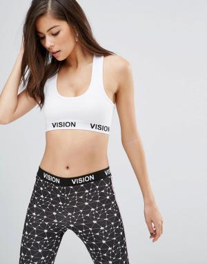 Vision Streetwear Укороченный топ в рубчик. Цвет: белый