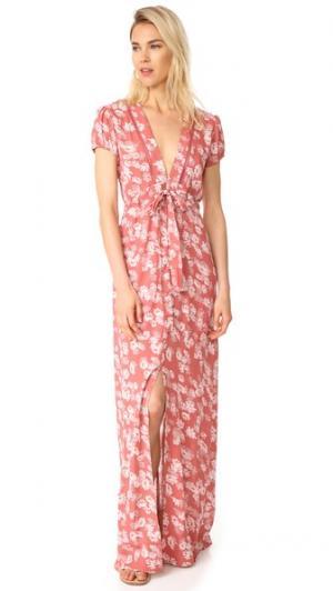 Платье Maya с завязкой на талии WAYF. Цвет: прожженный коралловый цветочный принт