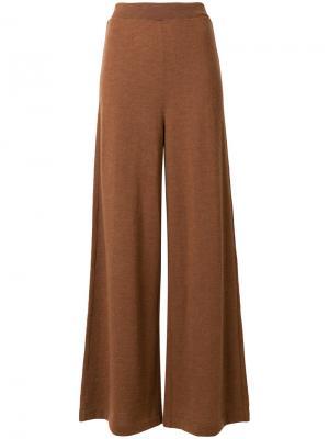 Расклешенные широкие брюки Roberto Collina. Цвет: коричневый