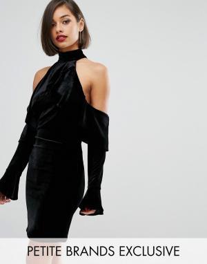 John Zack Petite Бархатное платье мини с открытыми плечами и расклешенными рукавами Joh. Цвет: черный