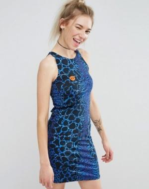 Illustrated People Облегающее платье. Цвет: синий