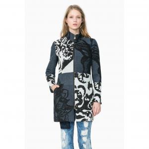 Пальто длинное с рисунком, Abrig Meredith DESIGUAL. Цвет: темно-синий