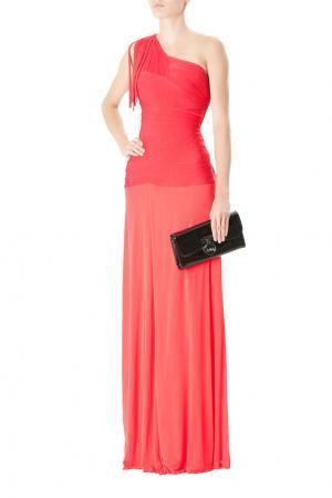 Коралловое асимметричное платье в пол Hervé Léger. Цвет: розовый