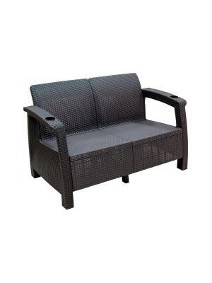 Диван Ротанг (1270х700х790) без подушки (коричневый) Альтернатива. Цвет: коричневый