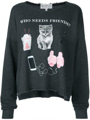Футболка Who Needs Friends Wildfox. Цвет: серый