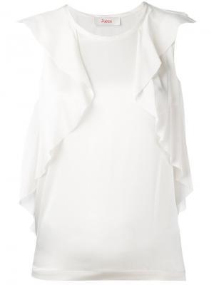 Блузка без рукавов с оборками Jucca. Цвет: телесный