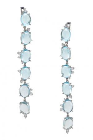 Серебряные серьги с топазами Moonka Studio. Цвет: голубой