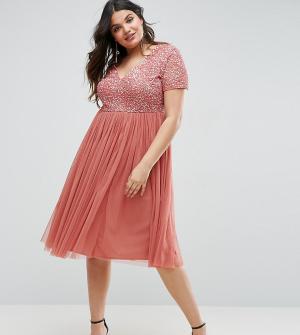 Maya Plus Платье миди с отделкой пайетками и юбкой из тюля. Цвет: розовый