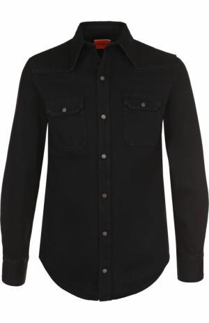 Джинсовая рубашка на кнопках CALVIN KLEIN 205W39NYC. Цвет: черный