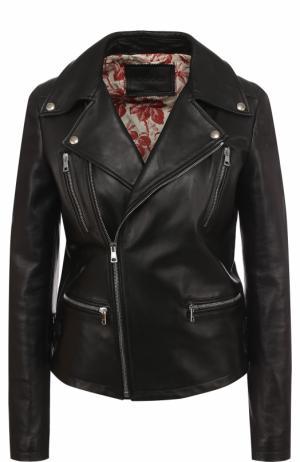 Однотонная кожаная куртка с косой молнией Gucci. Цвет: черный