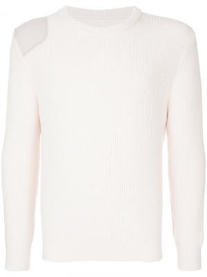 Трикотажный свитер с заплатками на плечах Zambesi. Цвет: розовый и фиолетовый