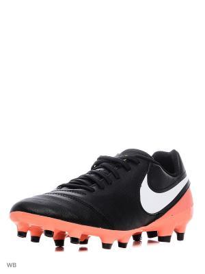 Бутсы TIEMPO GENIO II LEATHER FG Nike. Цвет: черный, коралловый