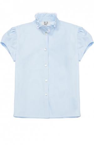 Хлопковая блуза с кружевным воротником-стойкой Caf. Цвет: голубой