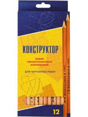 Набор карандашей 12 шт.(2-2Т,2-Т,4-ТМ,2-М,2-2М) СКФ. Цвет: оранжевый