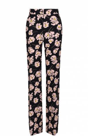 Расклешенные брюки со стрелками и цветочным принтом Rochas. Цвет: черный