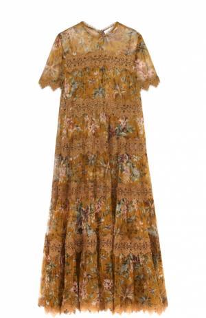 Приталенное платье-макси с цветочным принтом Zimmermann. Цвет: желтый