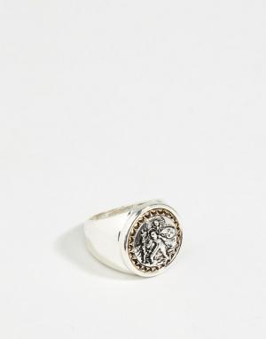 Icon Brand Серебристое/золотистое массивное кольцо. Цвет: серебряный