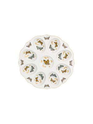 Тарелка для фаршированных яиц Бабочки Elan Gallery. Цвет: золотистый, белый, желтый