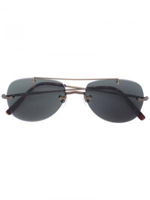 Солнцезащитные очки-авиаторы Matsuda. Цвет: металлический