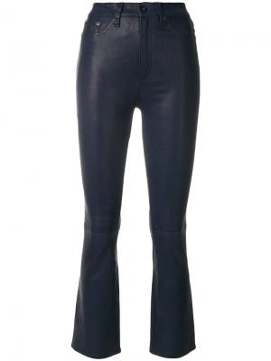 Укороченные расклешенные кожаные брюки Rag & Bone. Цвет: синий