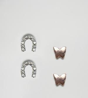ASOS 4 пары сережек-гвоздиков из серебра и с позолотой бабочка подкова AS. Цвет: мульти