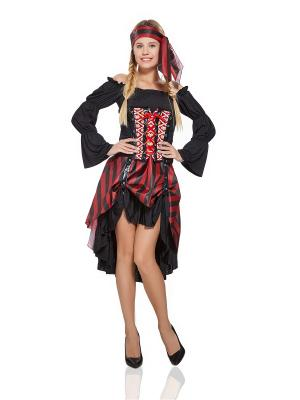 Костюм пиратки La Mascarade. Цвет: черный,светло-коричневый,светло-серый