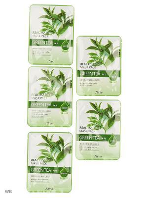 Набор тканевых масок с зеленым чаем, 20гр*5 шт. JLUNA. Цвет: белый