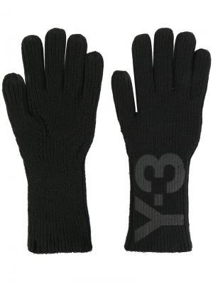 Перчатки с принтом логотипа Y-3. Цвет: чёрный