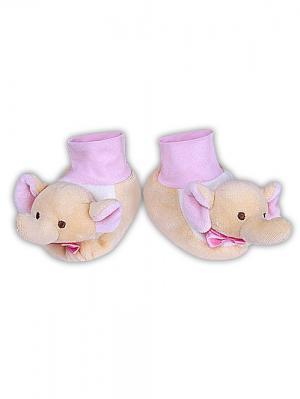 Пинетки велюровые слонята FELICE. Цвет: розовый