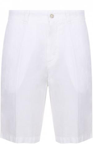 Льняные бермуды с карманами 120% Lino. Цвет: белый