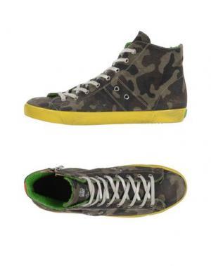 Высокие кеды и кроссовки LEATHER CROWN. Цвет: зеленый-милитари