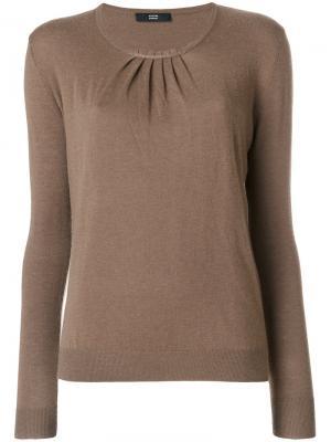 Блузка со складками Steffen Schraut. Цвет: коричневый