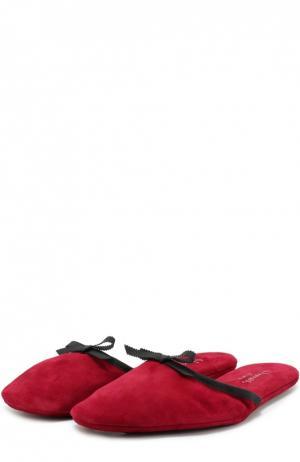 Домашние туфли из замши с бантом Homers At Home. Цвет: красный